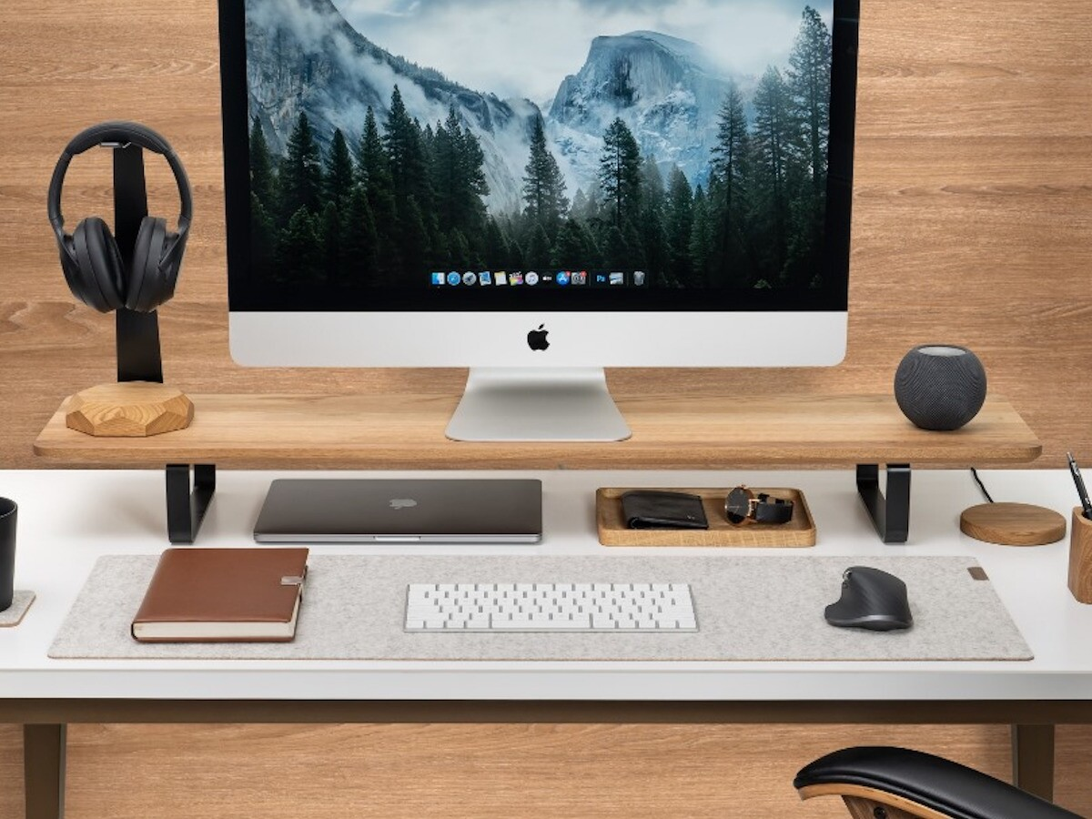Oakywood Desk Shelf dual monitor stand helps organize your work across 2 monitors