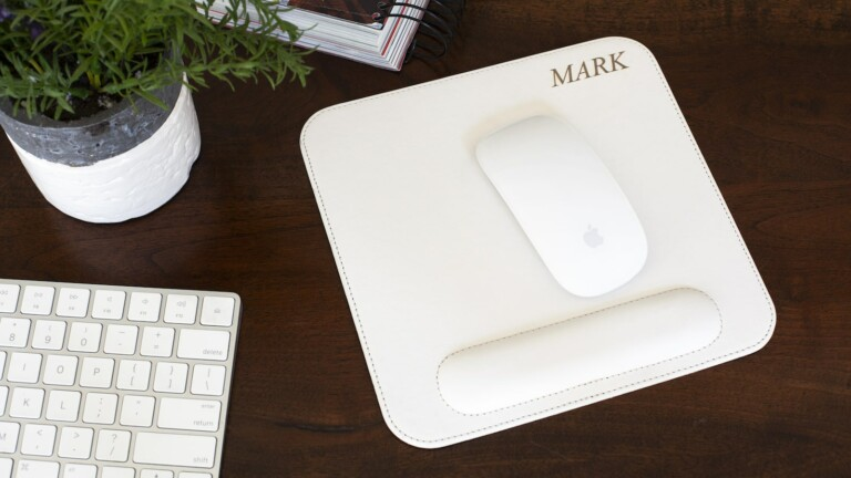 Ergonomic Office Mouse Pad has a nonslip backing and is made from high-quality leather