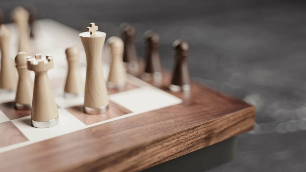 This beautiful robotic wooden chessboard works with both in-person and online gamesPHANTOM wooden robotic chessboard