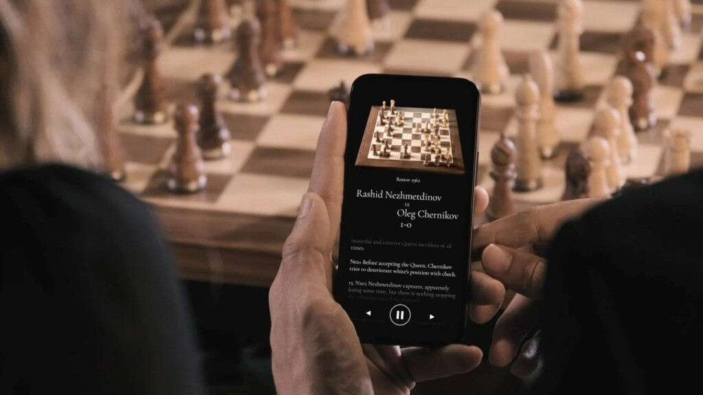 This beautiful robotic wooden chessboard works with both in-person and online games PHANTOM wooden robotic chessboard