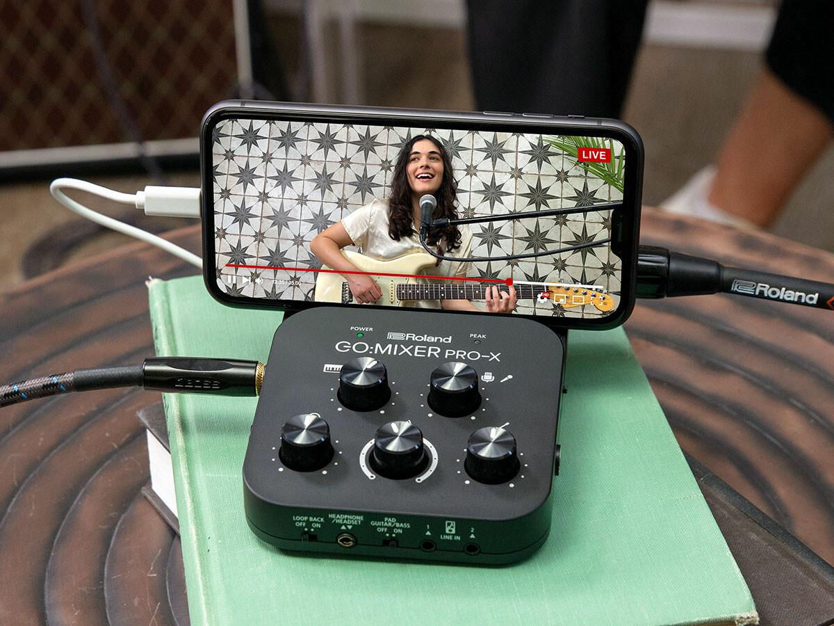 Roland GO:MIXER PRO-X smartphone audio mixer provides great sound quality through 7 inputs