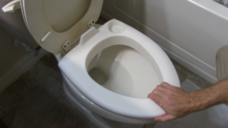 The SICK BUDDY toilet bowl cushion provides a clean barrier between you and the bowl