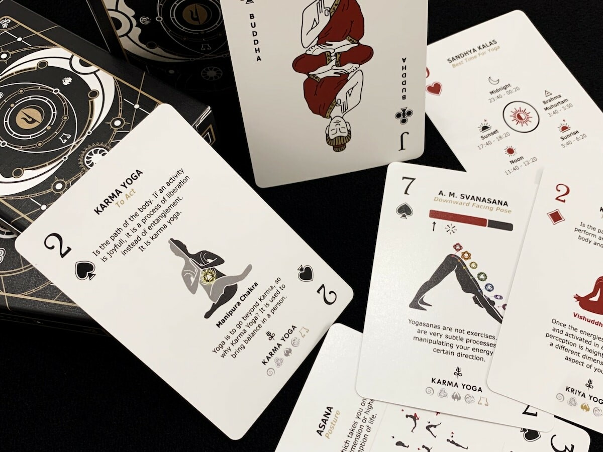 The Yoga Deck yoga cheat sheet cards display different tips, tricks, and techniques