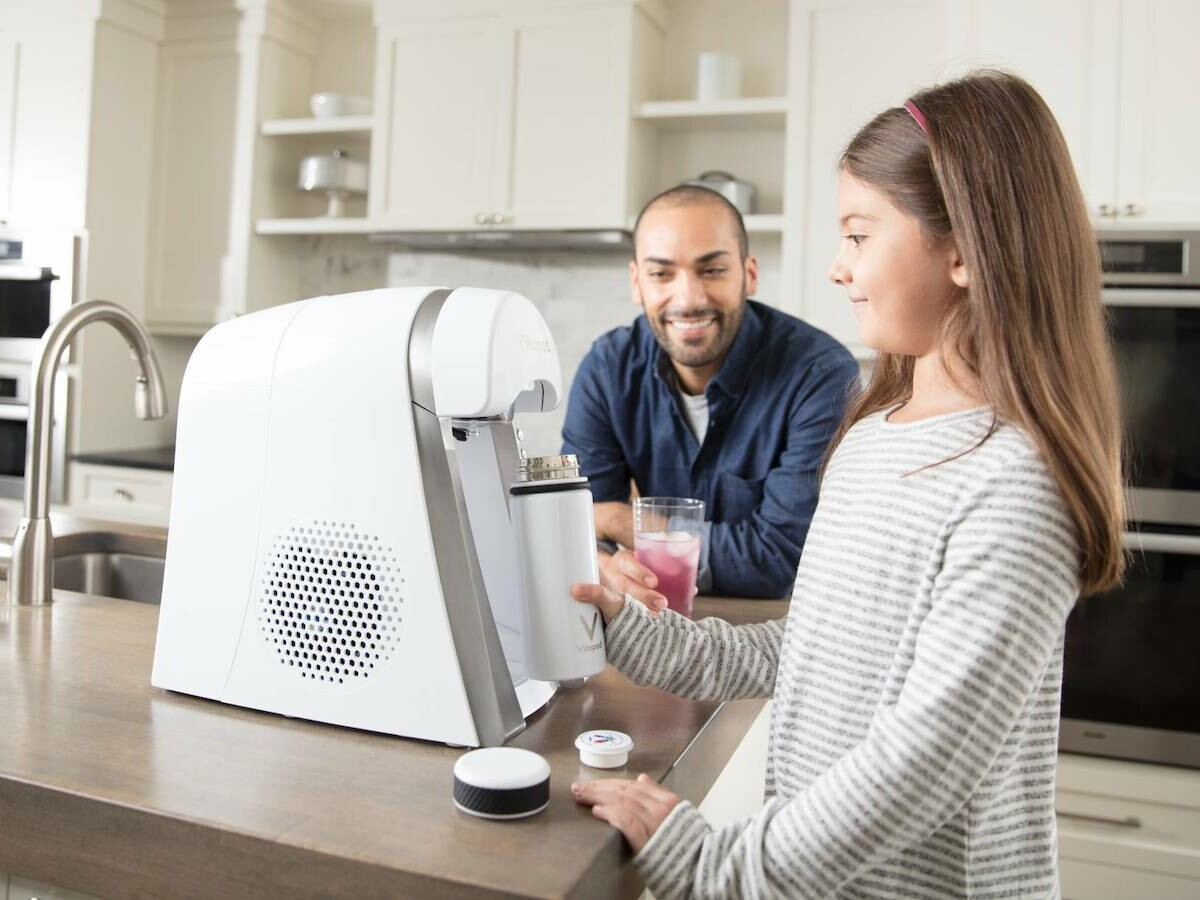 Vitapod in-home drink system blends filtered water with vitamins and antioxidants