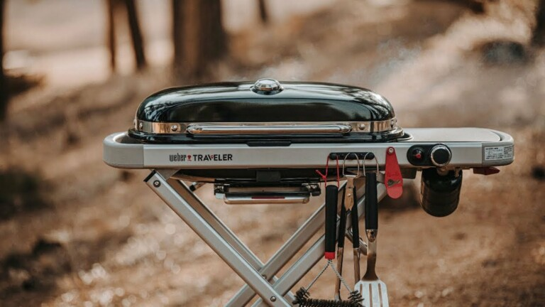 Weber Traveler Portable Gas Grill has a compact fold for storage and fits easily in a car