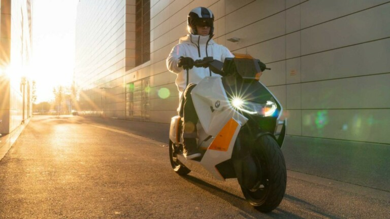 The BMW CE 04 electric motorcycle has sci-fi looks with a 130-kilometer range