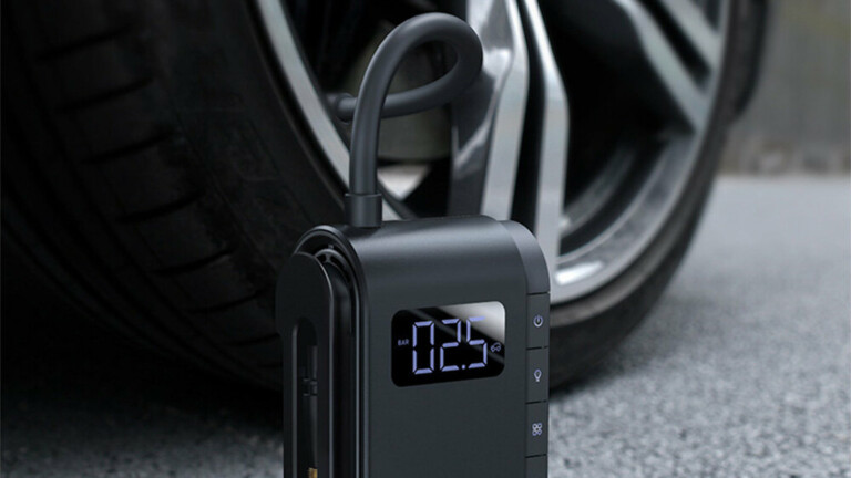 Baseus Tire Inflator portable air compressor has a compact, cordless design with 150 PSI
