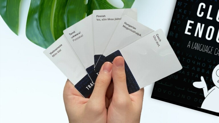 Close Enough language card game gets you learning with scenarios, sayings, and sentences