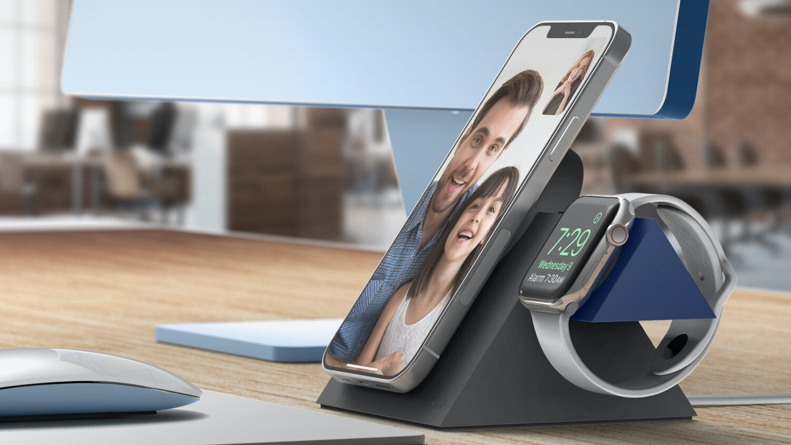 Elago MS5 Duo Charging Stand with MagSafe works with MagSafe and Apple Watch chargers