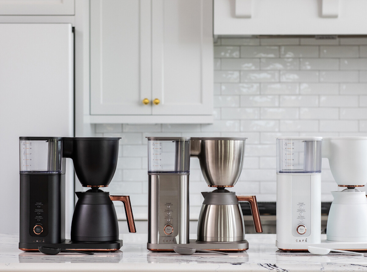 GE Appliances Café Specialty Drip Smart Coffee Maker has built-in Wi-Fi for voice control