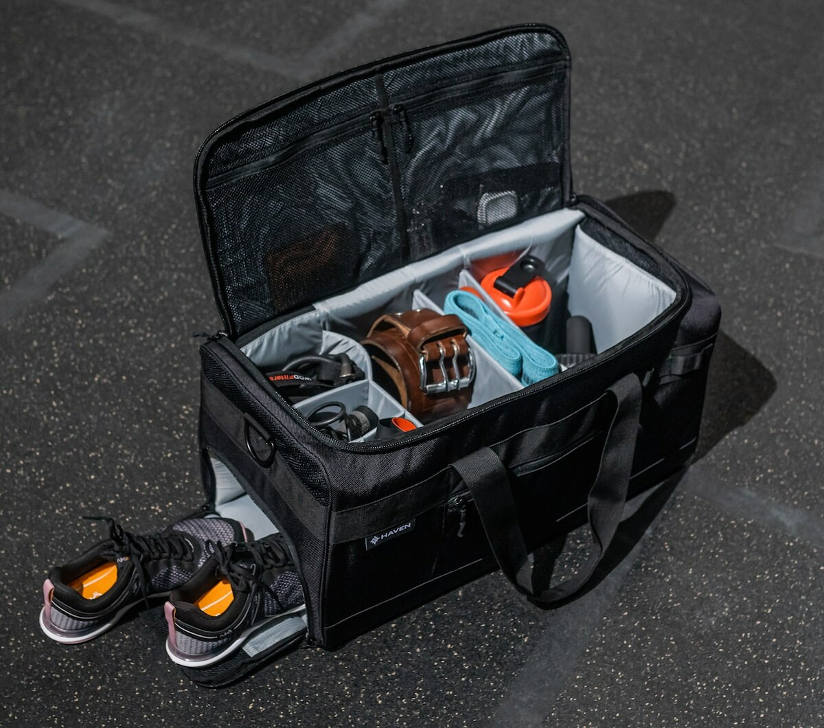 Haven Athletic gym bag features compartments and dividers for useful internal organization