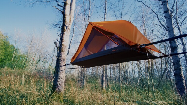 Opeongo AERIAL A1 hammock tent has a slackline-inspired suspension system for comfort