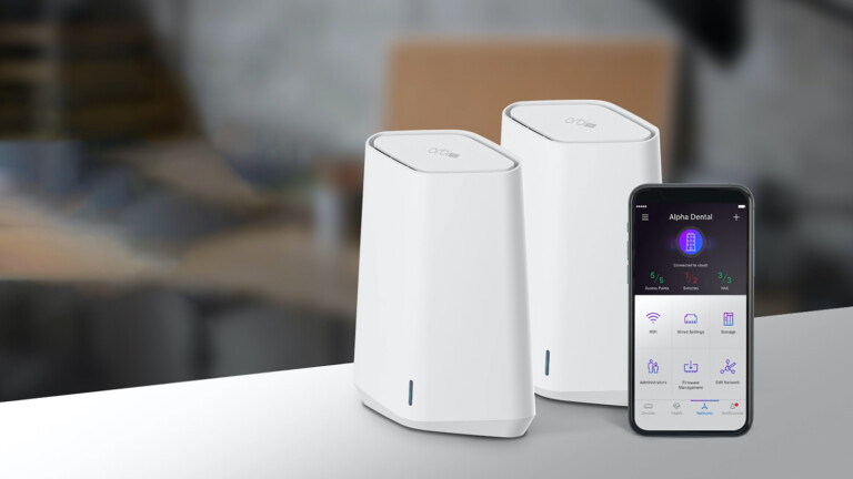 Orbi Pro WiFi 6 Mini AX1800 Mesh System gives you Wi-Fi 6 speeds and up to 1.8 Gbps