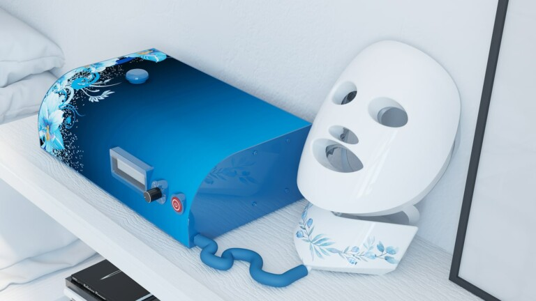 Renuvi Touch skincare massaging mask system tightens and firms skin on your face and neck
