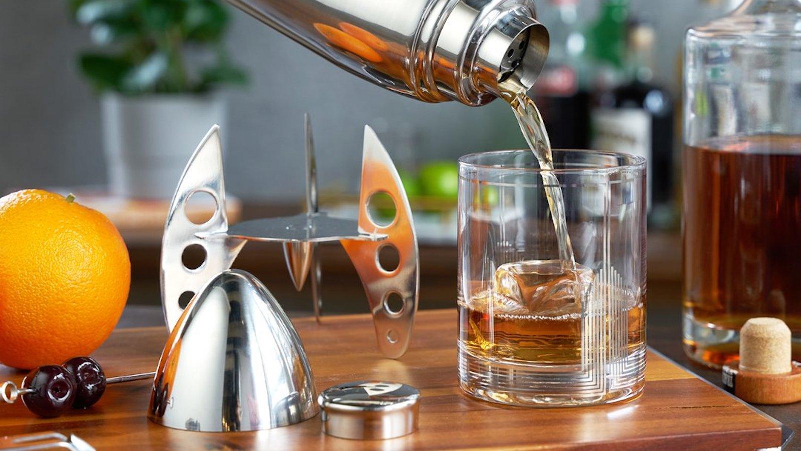 Viski Rocket Cocktail Shaker boasts a sleek, space worthy design made of stainless steel