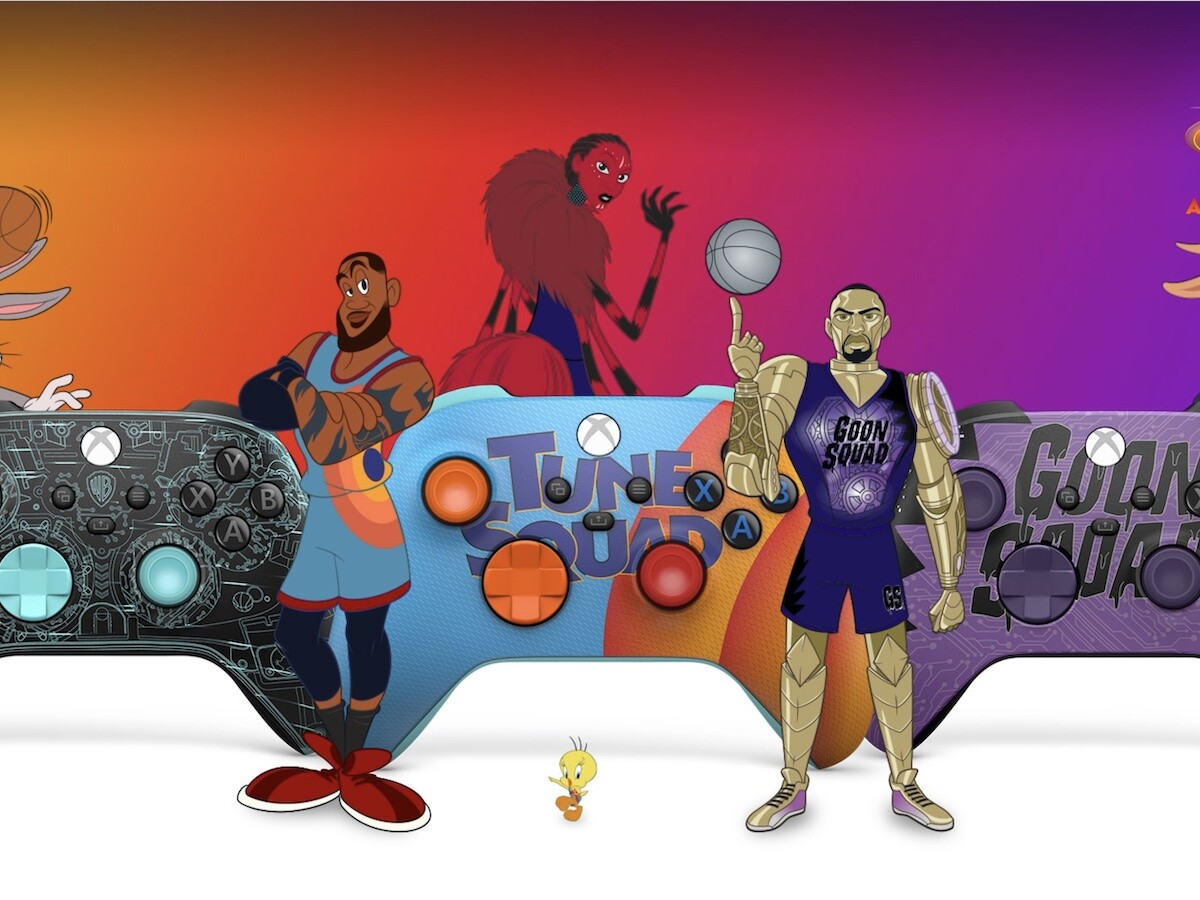 Xbox Space Jam Controllers boast textured grips and commemorative retro art designs