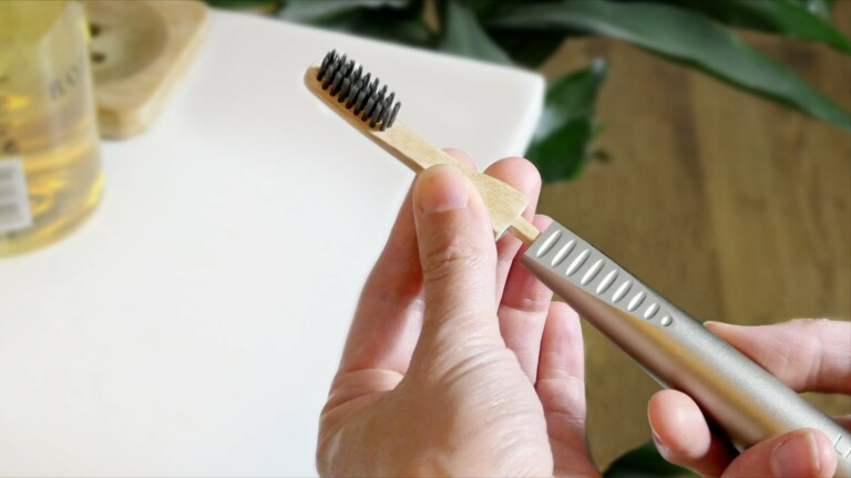 AEON sustainable luxury toothbrush has a lifetime aluminum handle with bamboo brush heads