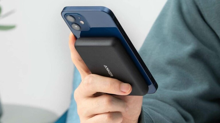 Anker PowerCore Magnetic 5K portable wireless charger for iPhone 12 attaches magnetically