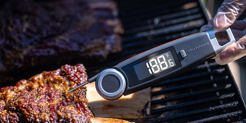 This bbq thermometer is super accurate and gives you a fast readout in 1-3 seconds