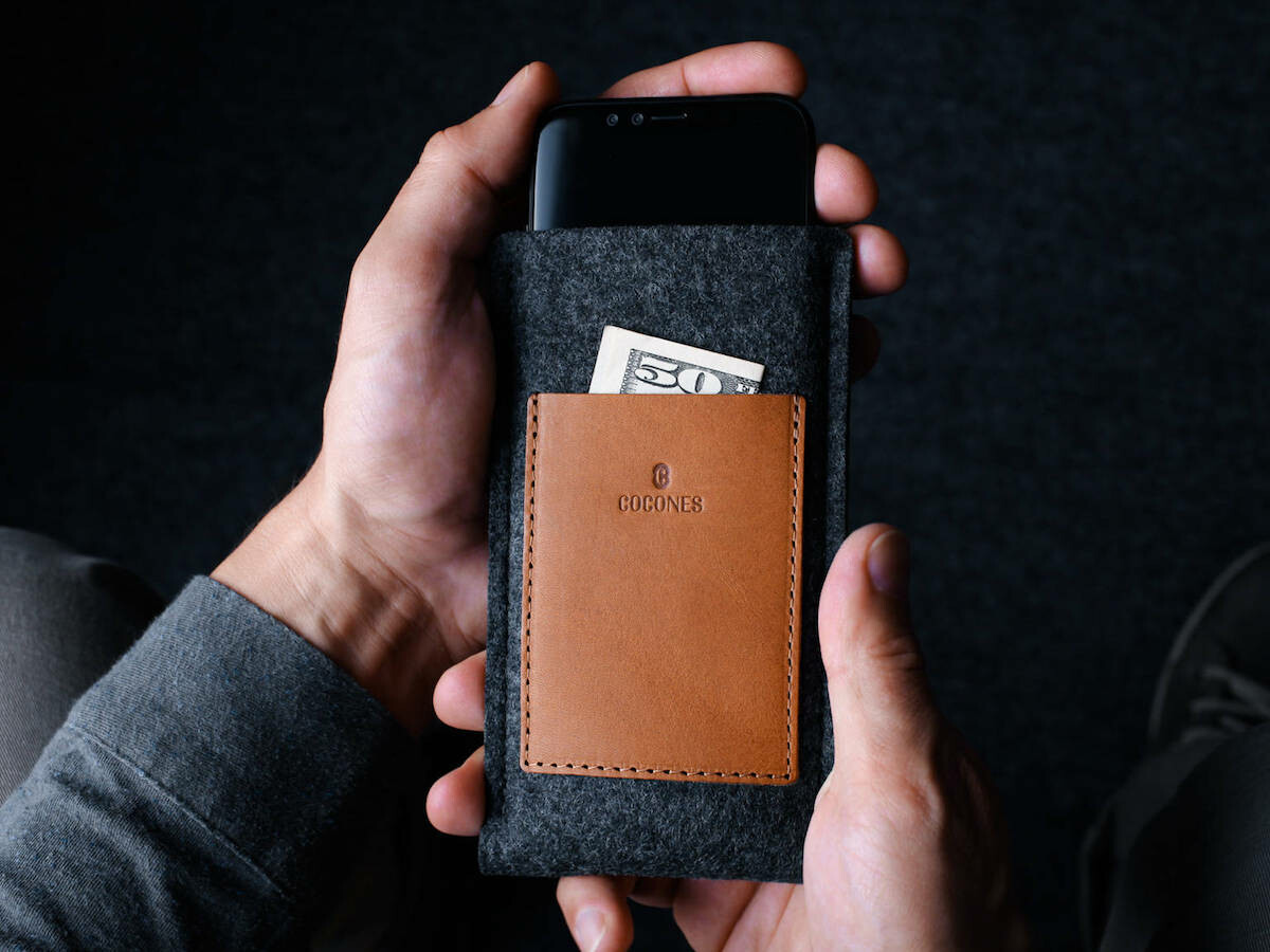 Cocones Card Wallet Sleeve with 2 leather pockets securely holds your phone, cards & cash