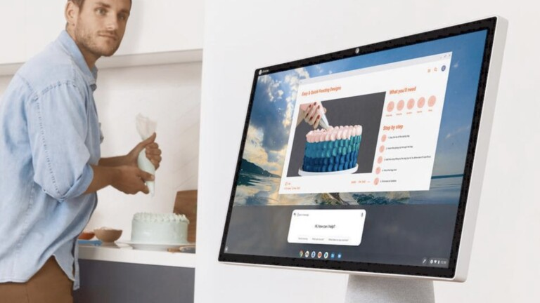 """HP Chromebase 21.5"""" All-in-One Desktop features a unique screen that rotates 90°"""