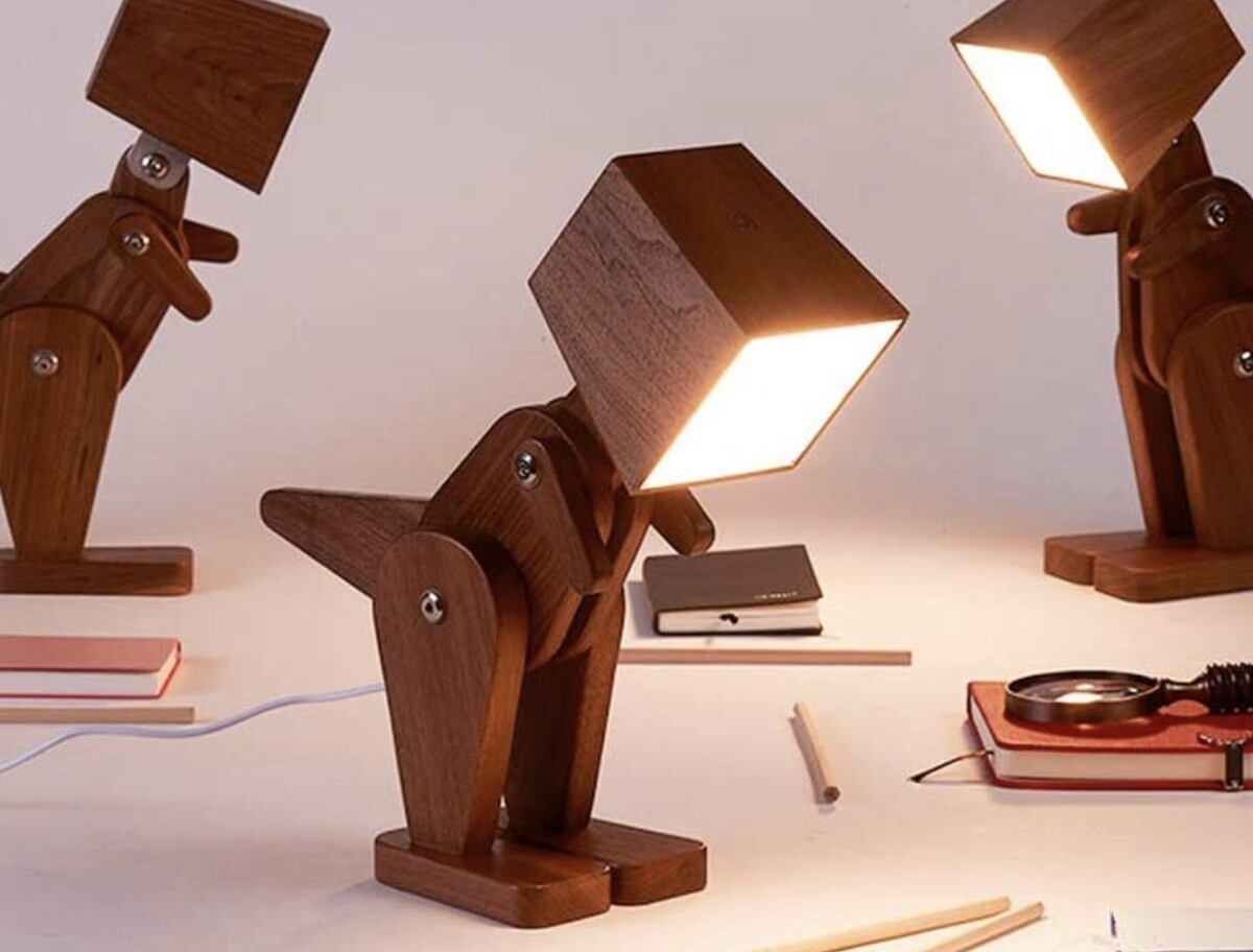 HROOME Unique Dinosaur Wood Table Lamp has a dimmable touch switch and is great for kids