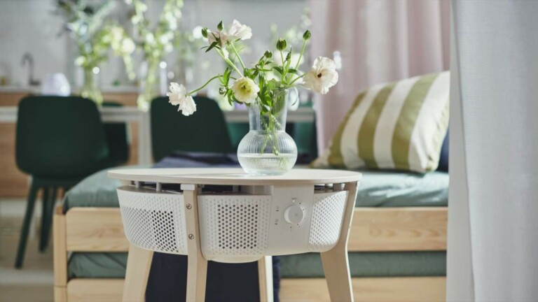 IKEA STARKVIND smart air purifier and side table has a 3-filter system for cleaner air
