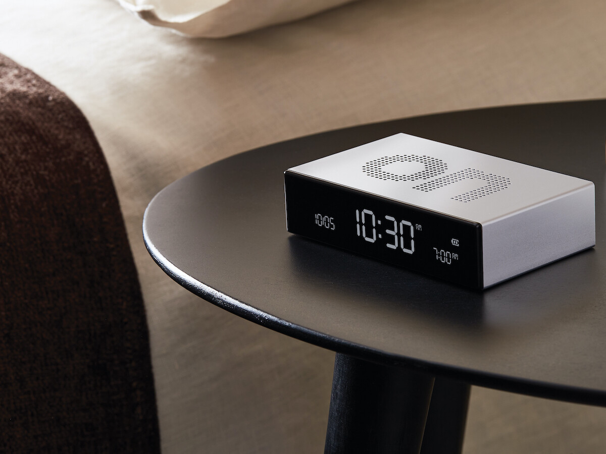 Lexon Flip Premium reversible alarm clock turns on when you flip it over for fun, easy use