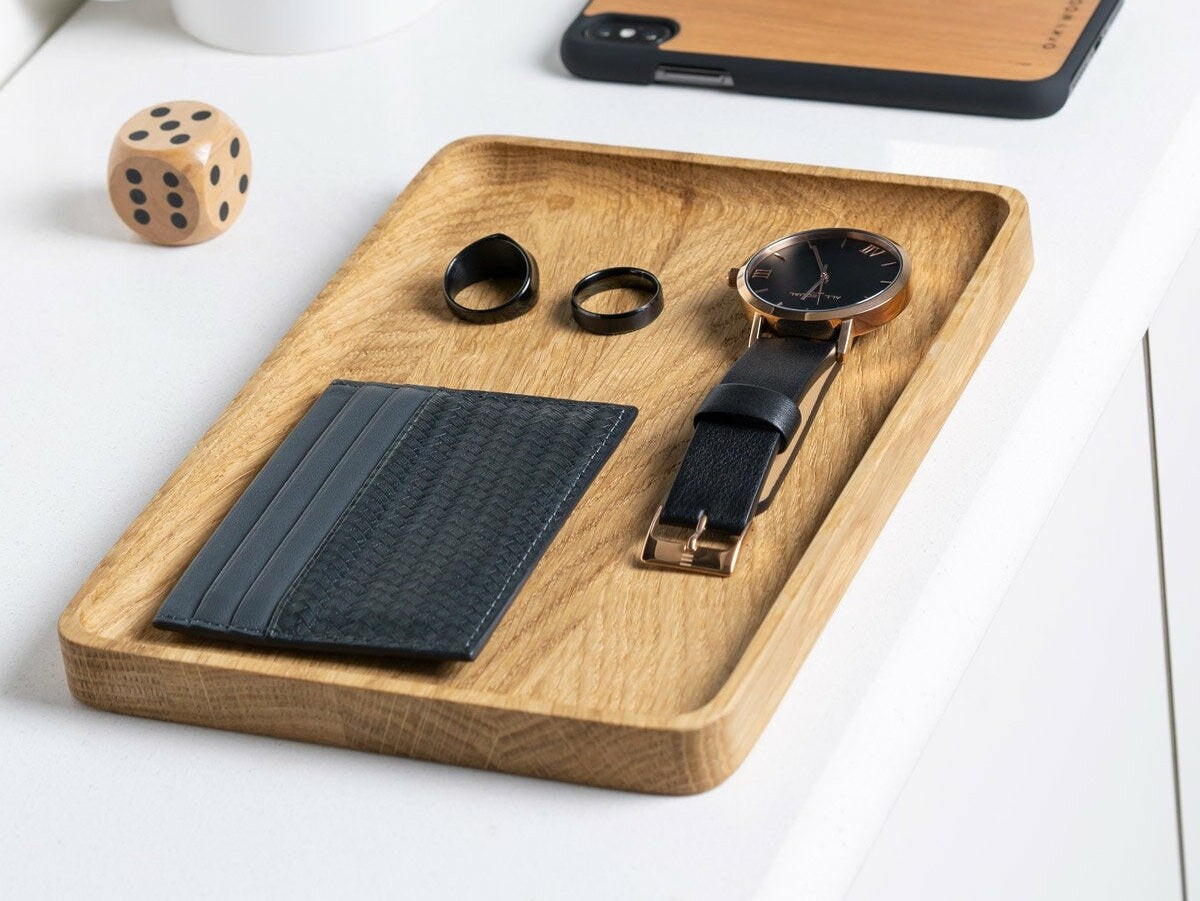 Oakywood Wooden Catchall Tray has beautiful natural wood and keeps accessories organized