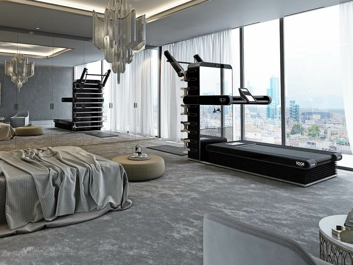 One infinity One all-in-one workout station provides various exercises in a small area