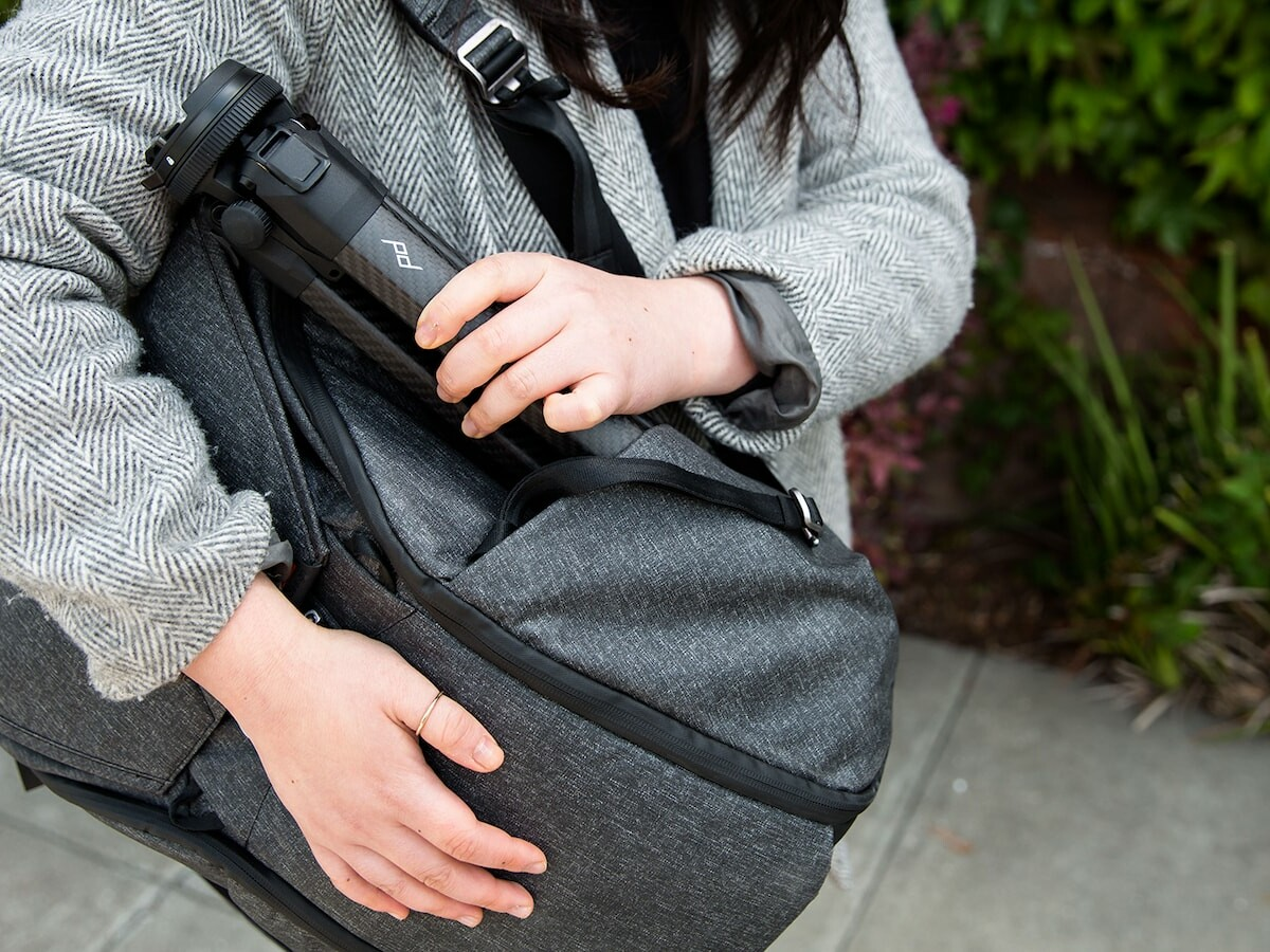 Peak Design Travel Tripod provides stability and packs down to the size of a water bottle