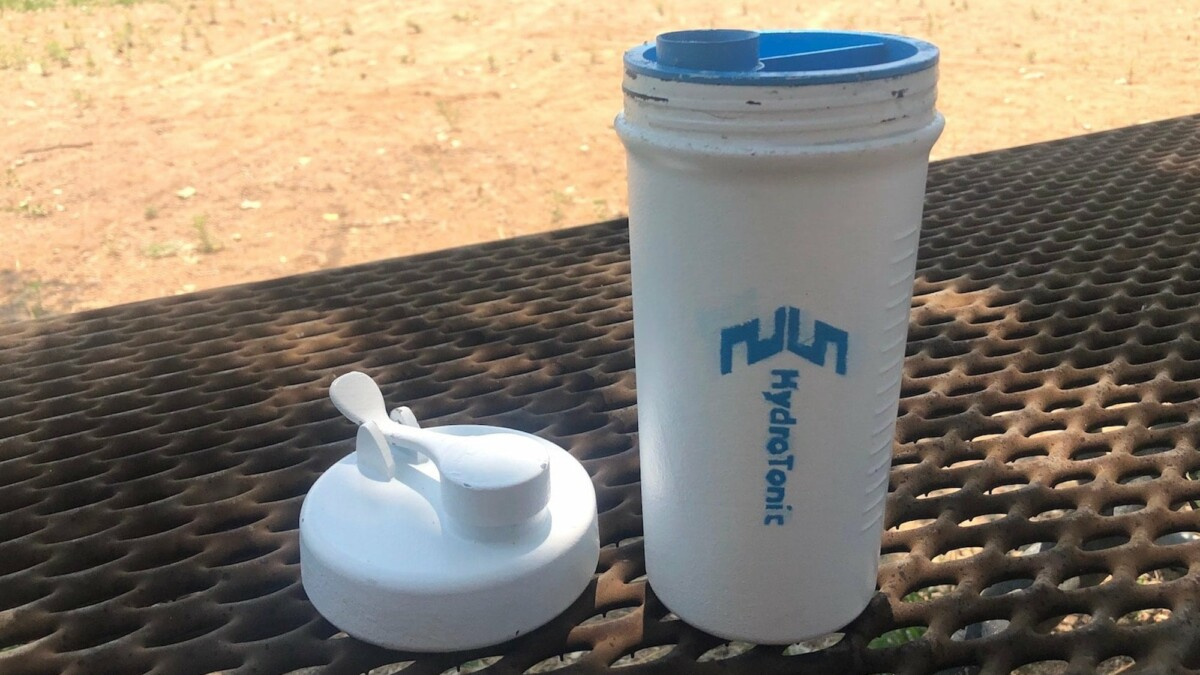 This sustainable shaker bottle also stores 50g of workout supplements