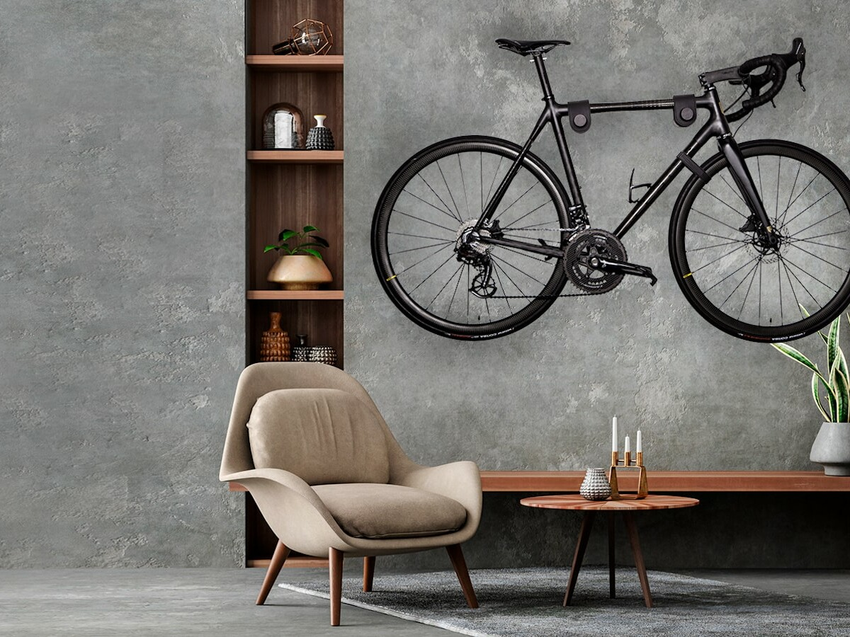 Vadolibero DUO wood minimalist bike rack is a simple wall-mounted storage solution