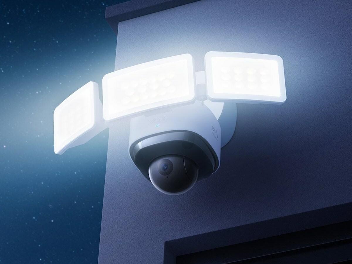 eufy Floodlight Cam 2 Pro home surveillance has a 360° lens for a full view of your garden