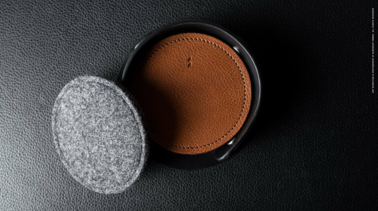 hardgraft Club Coaster Set is artisan-made from vegetable-tanned leather and felt wool