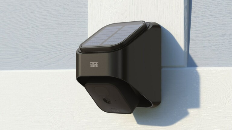 Blink Solar Panel Charging Mount uses the sun's power to charge the Blink Outdoor