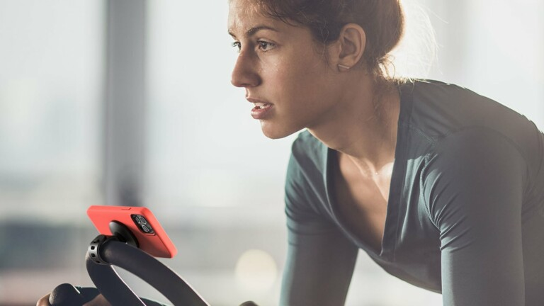 Belkin Magnetic Fitness Phone Mount has MagSafe technology and sticks to gym equipment