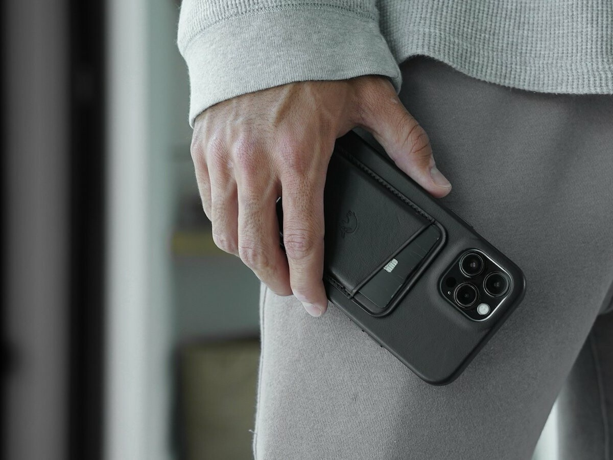 Bullstrap Leather MagSafe Wallets attach to your phone via a magnet and hold up to 3 cards