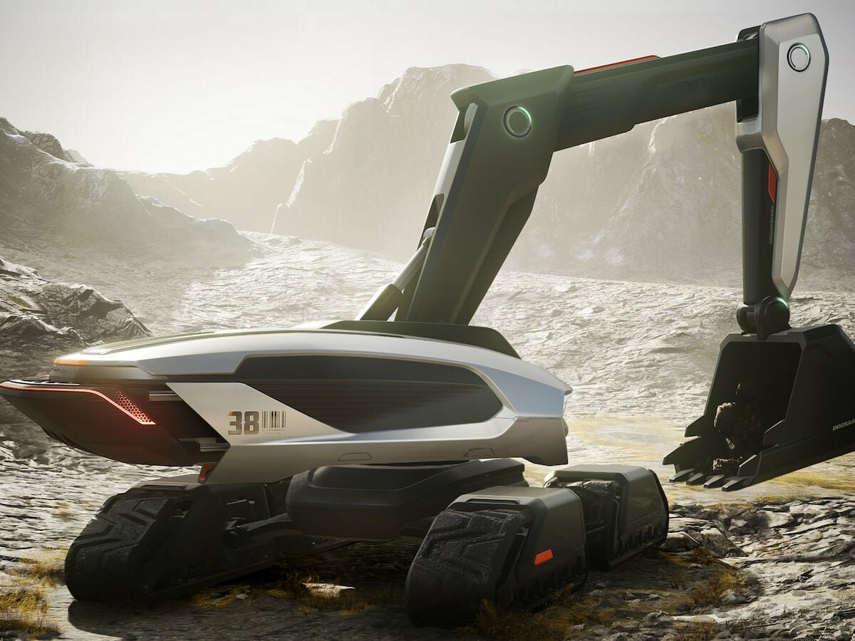 Doosan Infracore CONCEPT-X unmanned excavator has a wheel loader and is supervised by drones