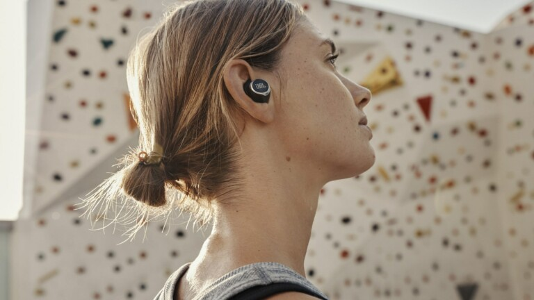 JBL Reflect Flow PRO wireless earbuds has JBL's POWERFIN design for a secure fit