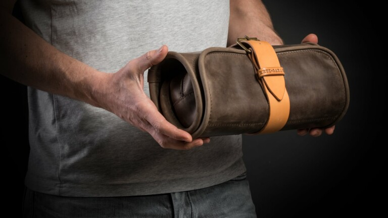 Kruk Garage Hanging Wash Roll toiletry travel bag rolls up and uses full-grain leather