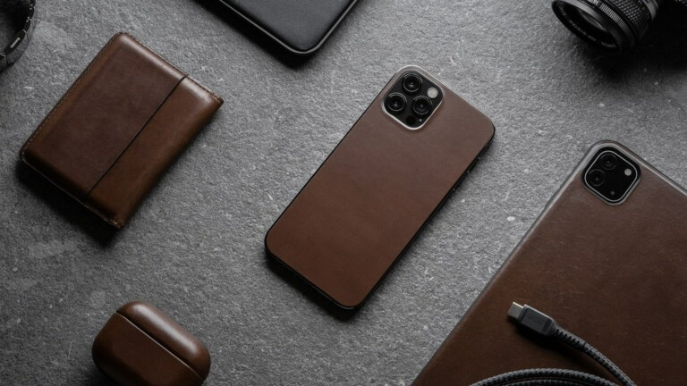 NOMAD Protective Leather Skin For iPhone 12 Series shields your phone from scratches