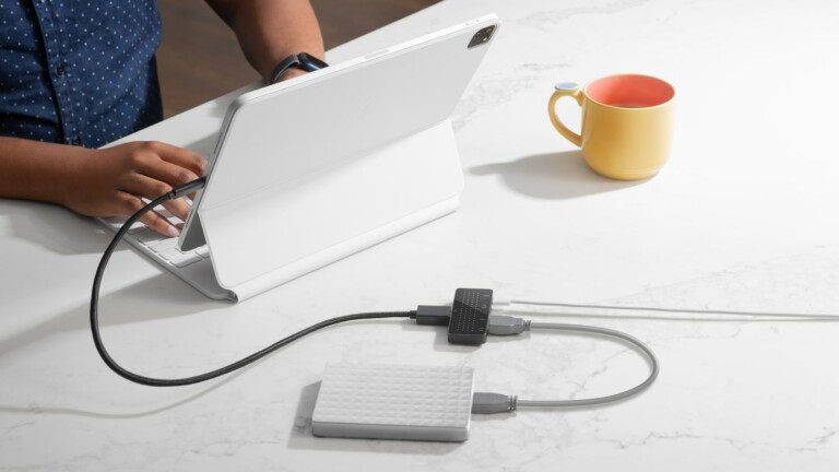 Twelve South StayGo mini portable USB-C Hub offers 4 ports and is compatible Apple devices