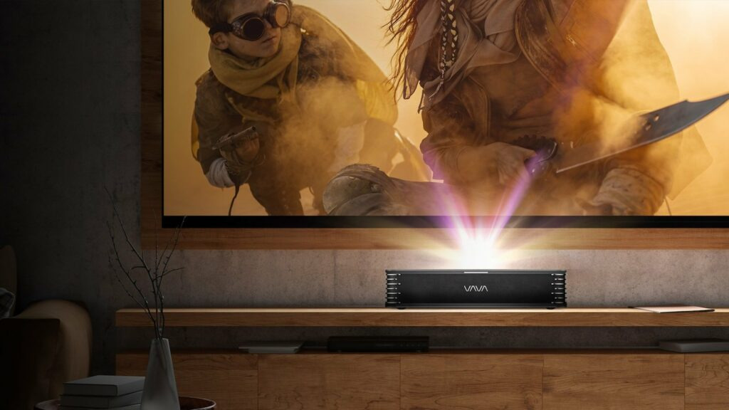 This triple laser projector delivers a short throw range of only 7.2 inches