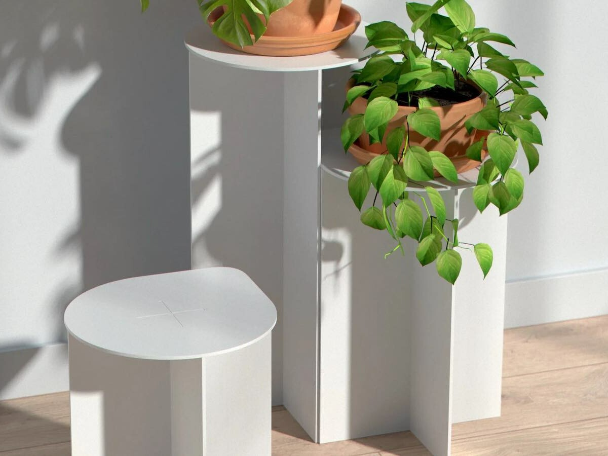 Clover modular plant stand system lets you rearrange them in different configurations