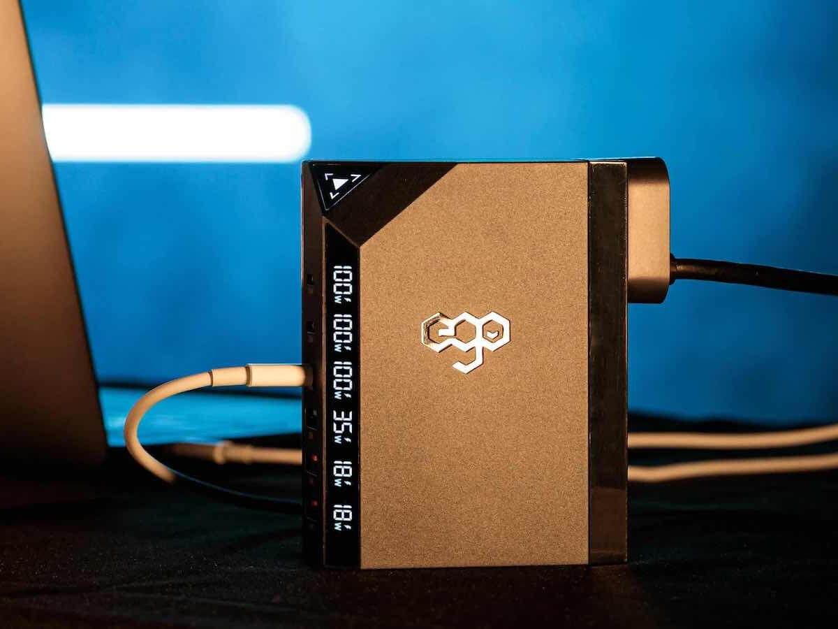 EGO EXINNO 240W/120W 6-port wall charger has a real-time wattage panel visual display
