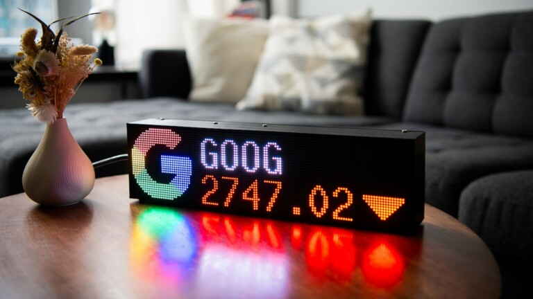 Fintic LED ticker displays stocks, crypto, forex, weather, news, sports, and more