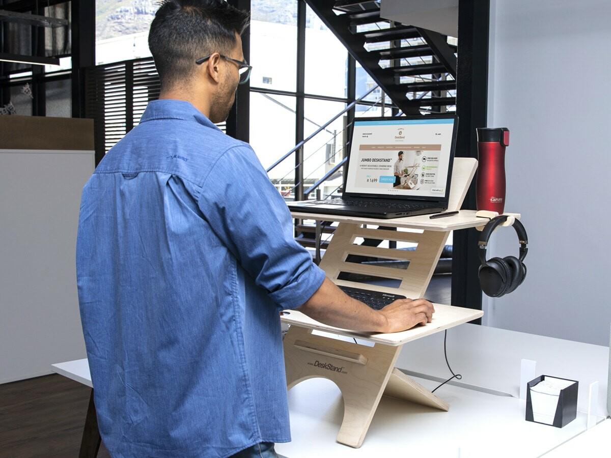 JUMBO DeskStand ergonomic standing desk offers adjustable heights to help your posture