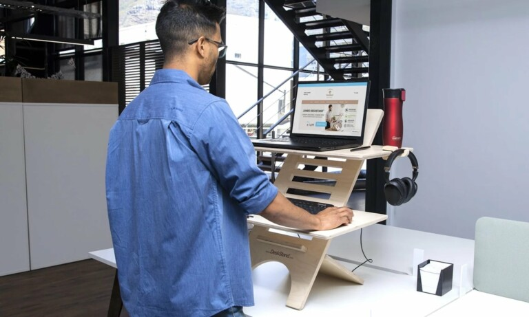 This posture-improving standing desk has enough space for 2 screens