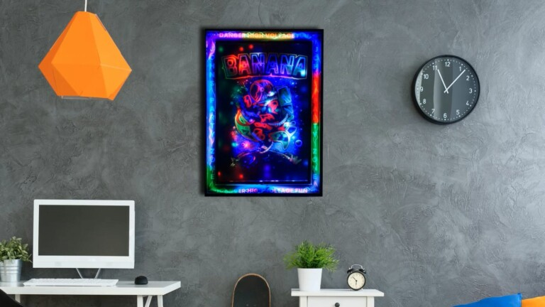 LED Smart Poster customizable art brings your own posters to life in 2D and 3D formats